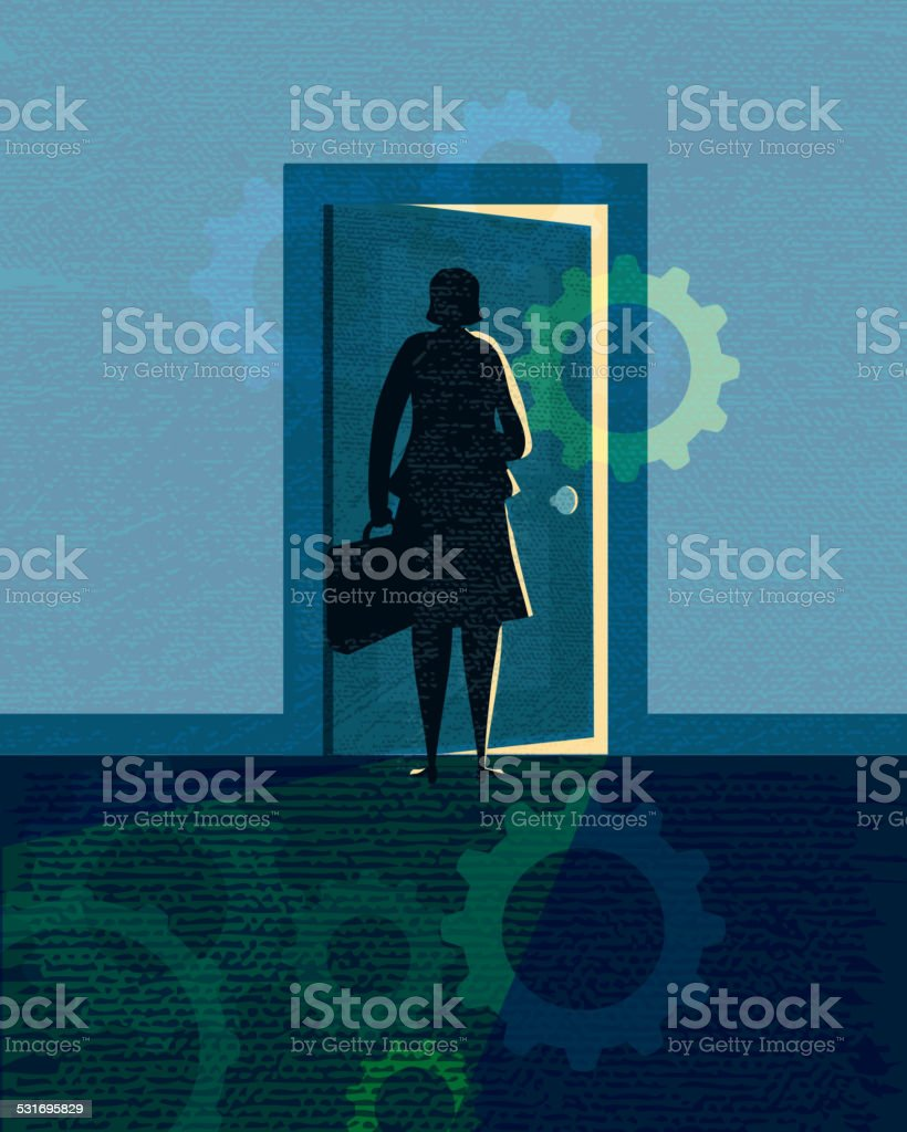 Stylized business woman silhouette opening door royalty-free stylized business woman silhouette opening door stock vector art & more images of 2015