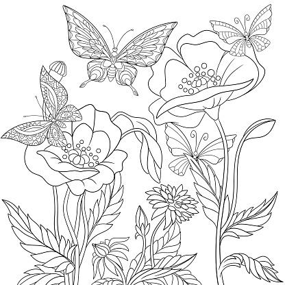 Stylized butterflies and poppy flowers