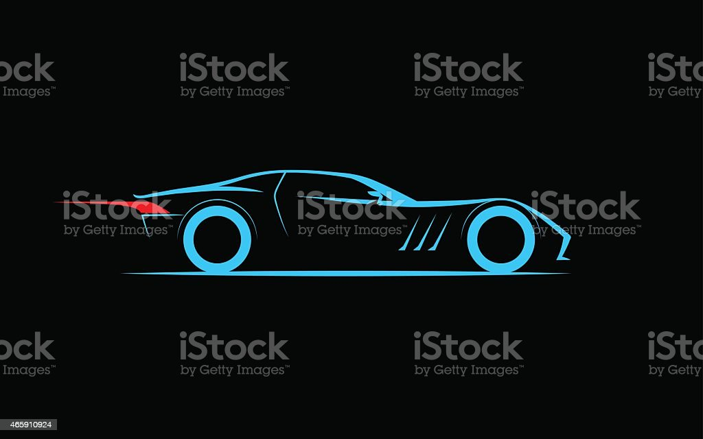 stylized car coupe vector art illustration