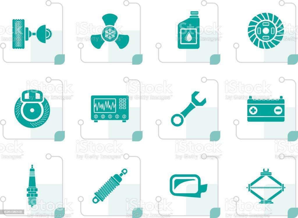 Stilisierte Symbole Für Kfzersatzteile Und Dienstleistungen Stock ...