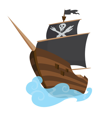 Stylized cartoon pirate ship illustration with Jolly Roger and black sails. Cute vector drawing. Pirate Ship sailing on water
