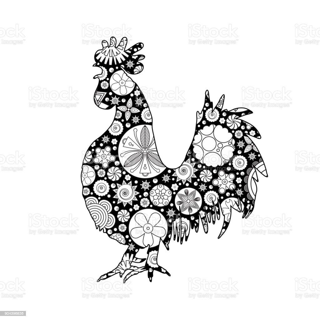 Stilisierte Cartoon Hahn Oder Schwanz Kreis Blumen Gemacht ...