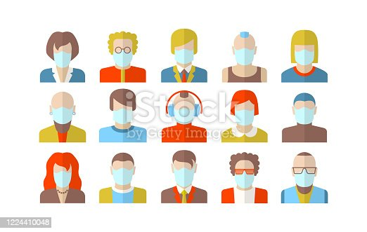 Stylized character people wearing face mask for virus protection. Design in flat style for social networks