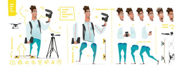 stylized characters set for animation. - business casual fashion stock illustrations