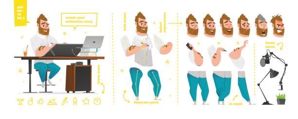 Personnages stylisés définies pour animation. - Illustration vectorielle