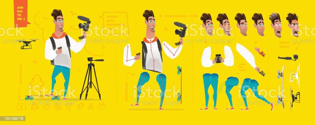 Stylized characters set for animation. vector art illustration