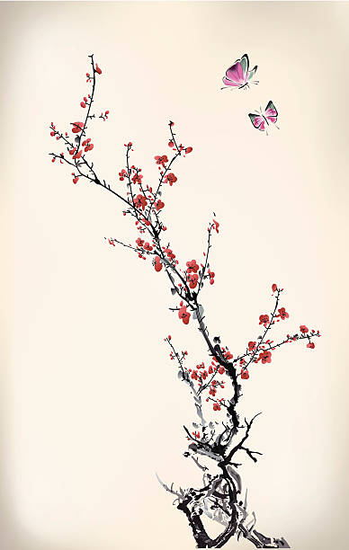 Stylized cherry blossom branches with flying butterflies ink style butterfly and winter sweet, eps10 file plum blossom stock illustrations