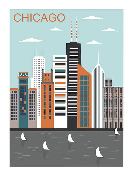 Stylized Chicago city. Stylized Chicago city in bright colors lakeshore stock illustrations