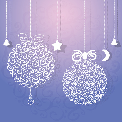 Stylized Christmas decorations. Balls and Garlands