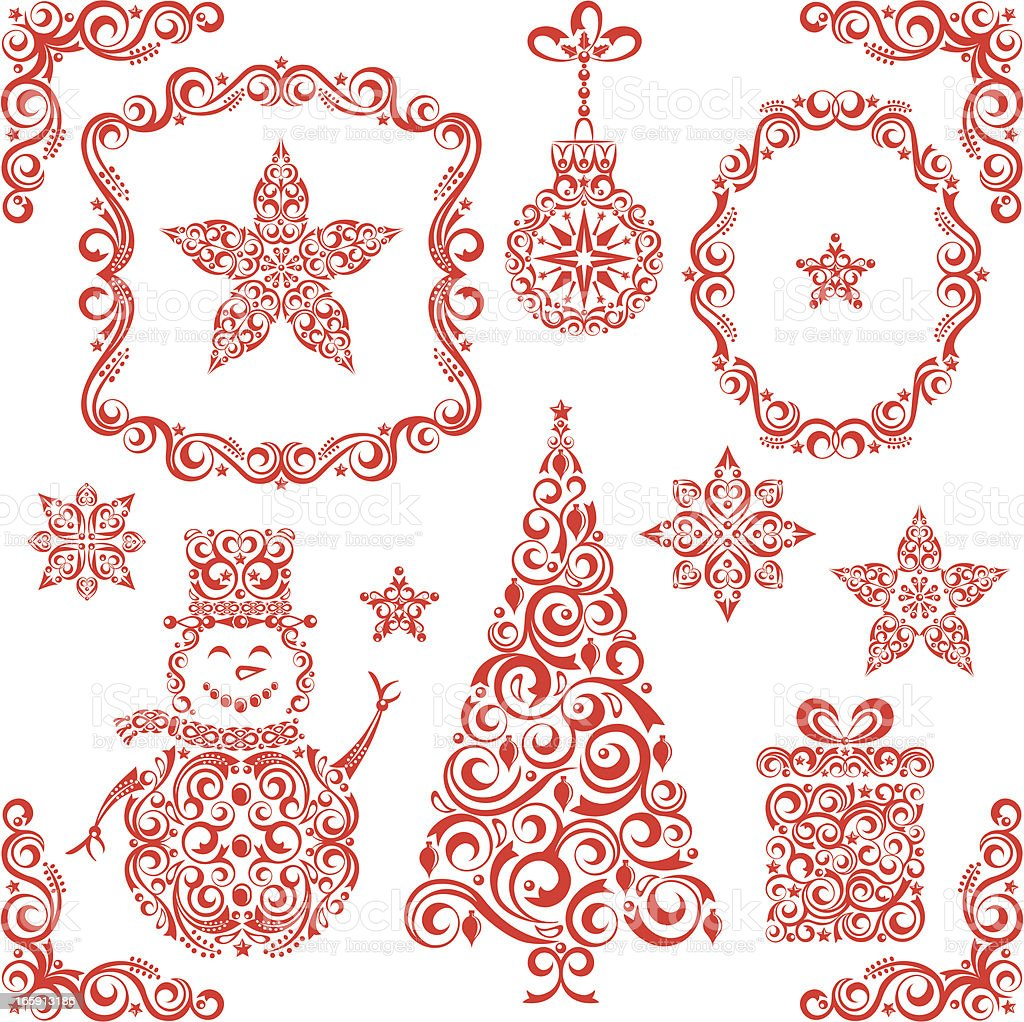 Stylized Christmas Set royalty-free stock vector art