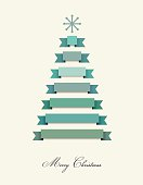 Stylized Christmas tree. Red ribbons decoration. Vector background.