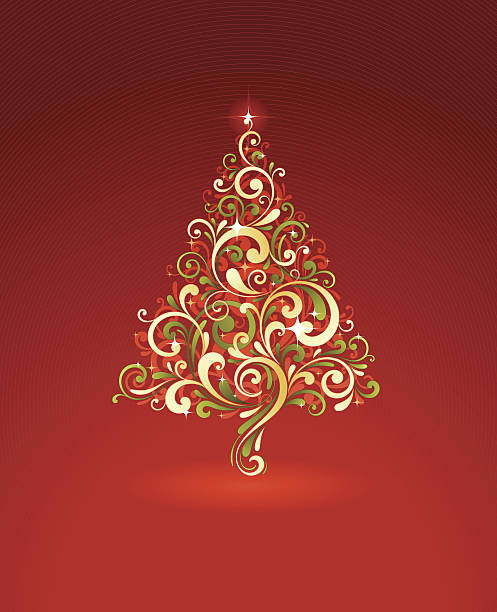 Stylized Christmas Tree vector art illustration