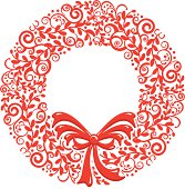 Stylized Christmas Wreath on an isolated background