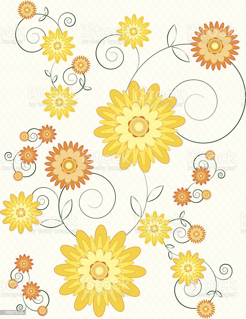 Stylized Chrysanthemums Floral Background Design with Graceful Calligraphic Swirls vector art illustration