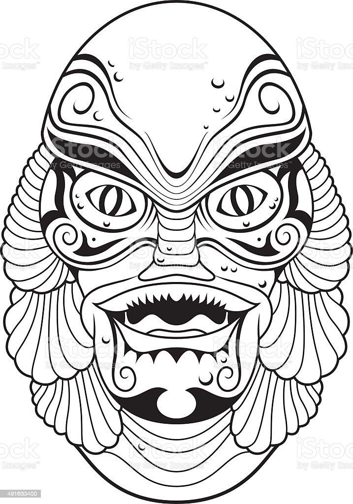 Stylized classic monster vector art illustration