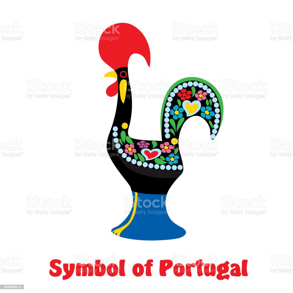 Stylized Cock Symbol Of Portugal Colored Vector Illustration On