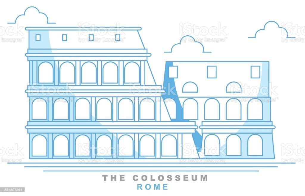 Stylized coliseum, Roman amphitheater, Rome, freehand design. Italy. Capital. Colosseum. Famous monument, seven wonders of the world vector art illustration