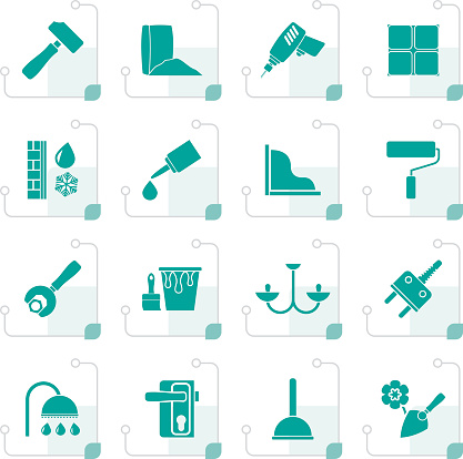 Stylized Construction and building equipment Icons