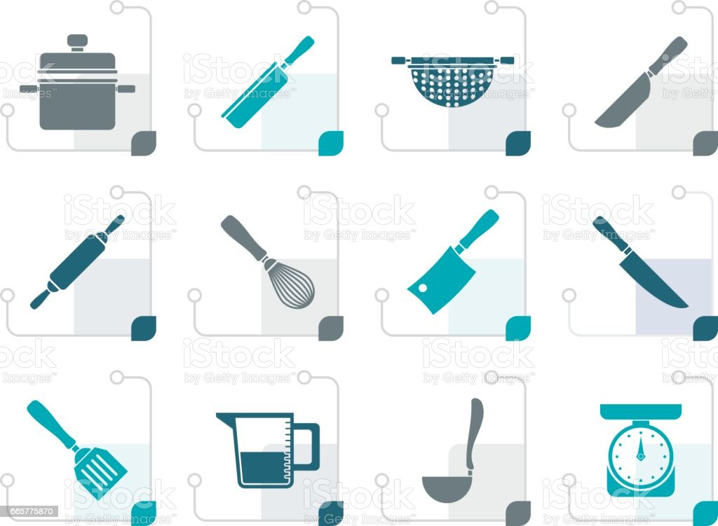 Stylized Cooking equipment and tools icons vector art illustration