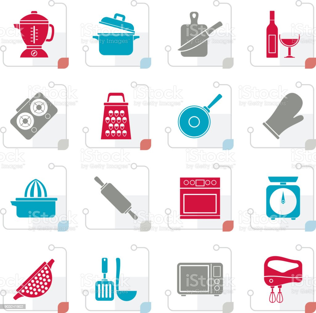 Stylized cooking tools icons vector art illustration