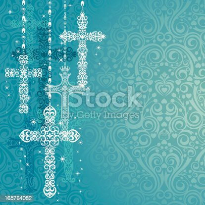 Ornate Lacy Crosses on a Damask Background. Room for your copy.