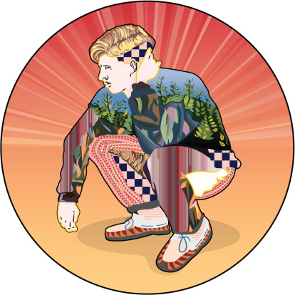 Stylized Crouching Man Stockvectorkunst en meer beelden van 20-24 jaar