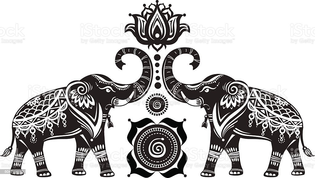 Stylized Decorated Elephants And Lotus Flower Stock ...