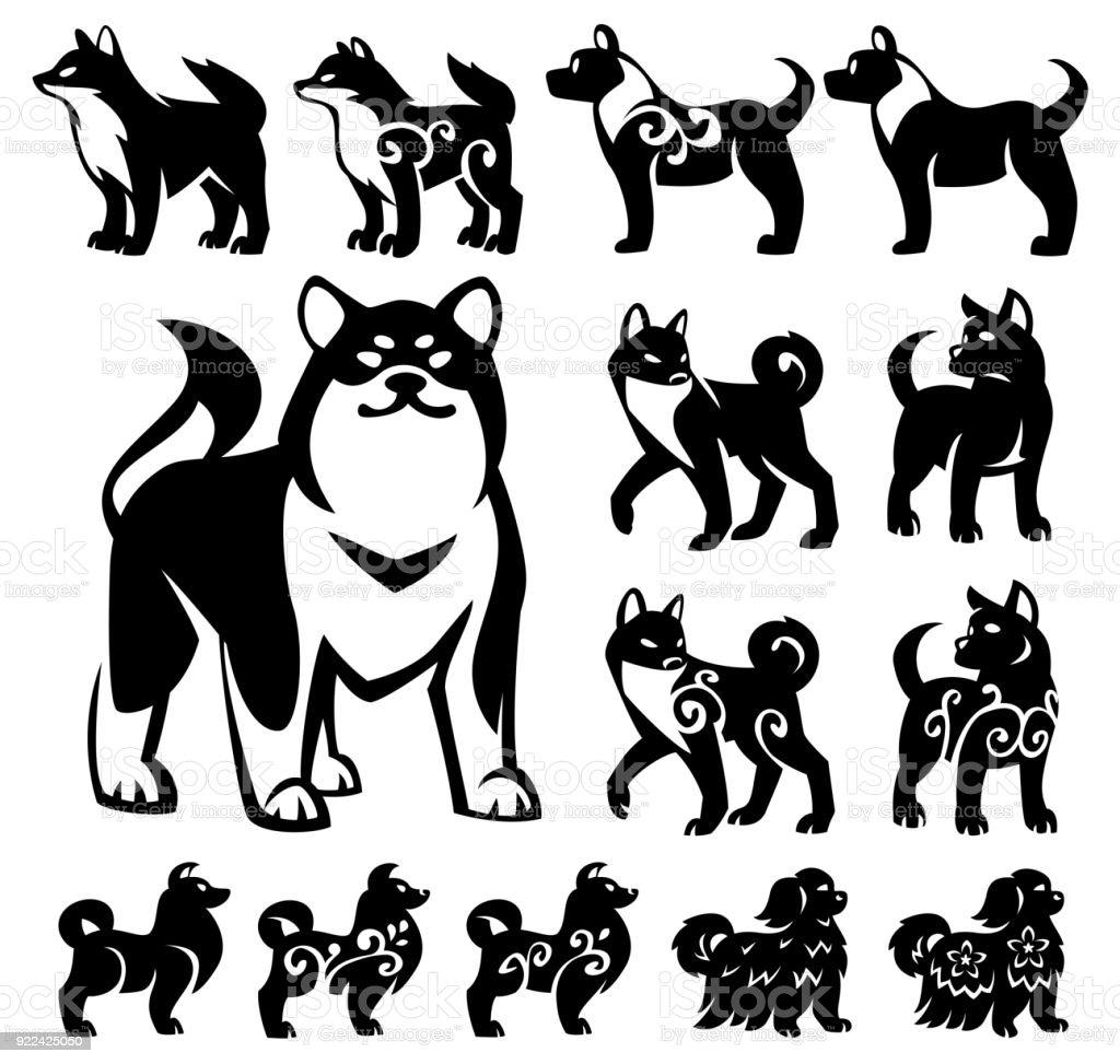 Stylized, decorative illustrations of Chinese and Japanese breeds of dogs. – artystyczna grafika wektorowa