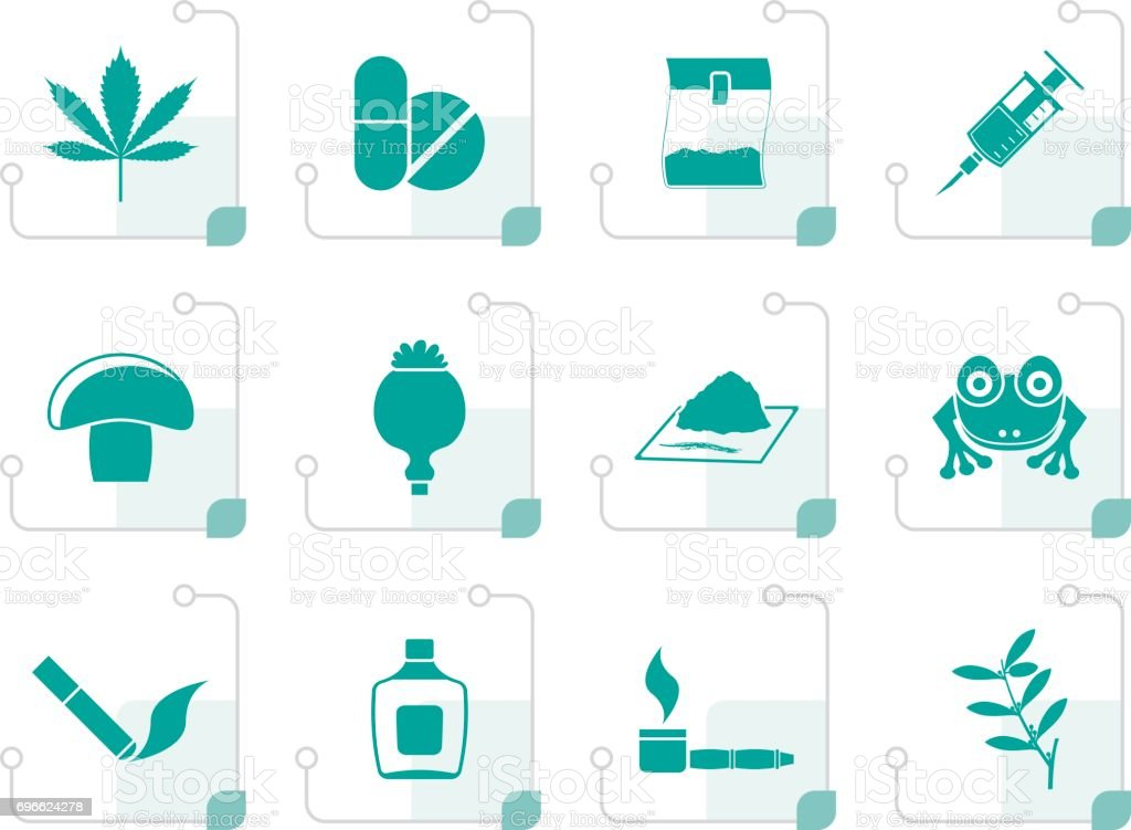Stylized Different kind of drug icons vector art illustration