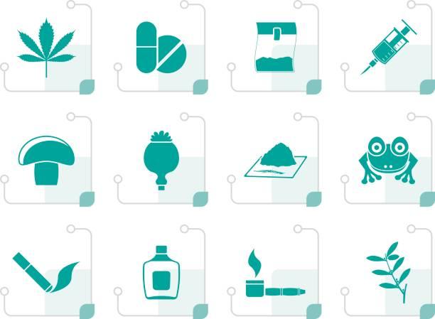 stockillustraties, clipart, cartoons en iconen met gestileerde verschillend soort drug pictogrammen - amfetamine