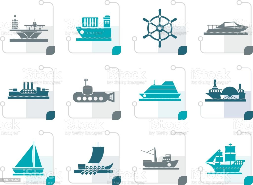 Stylized different types of boat and ship icons vector art illustration