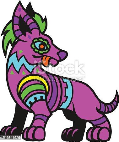 Stylized crested dog.