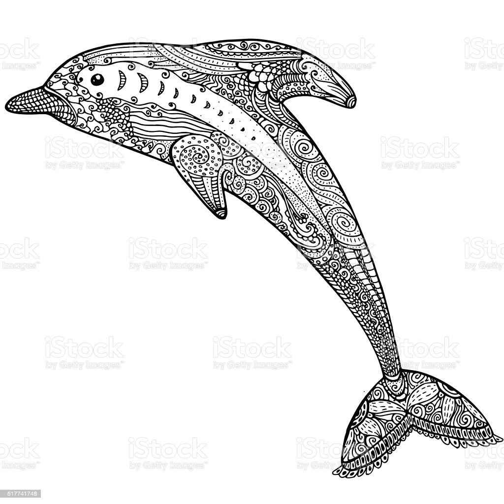 Stylized Dolphin Adult Anti Stress Coloring Page Stock Vector Art ...