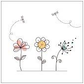 Stylized doodle flowers