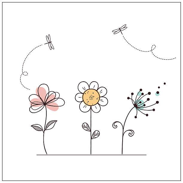 stylized doodle flowers - нивяник stock illustrations