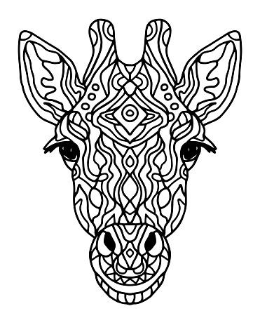 Stilize Doodle Vektor Zurafa Kafa Zen Sanat Tarzi Hayvanat Bahcesi