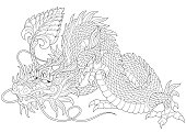 Stylized cartoon dragon animal for adult anti stress coloring book pages.