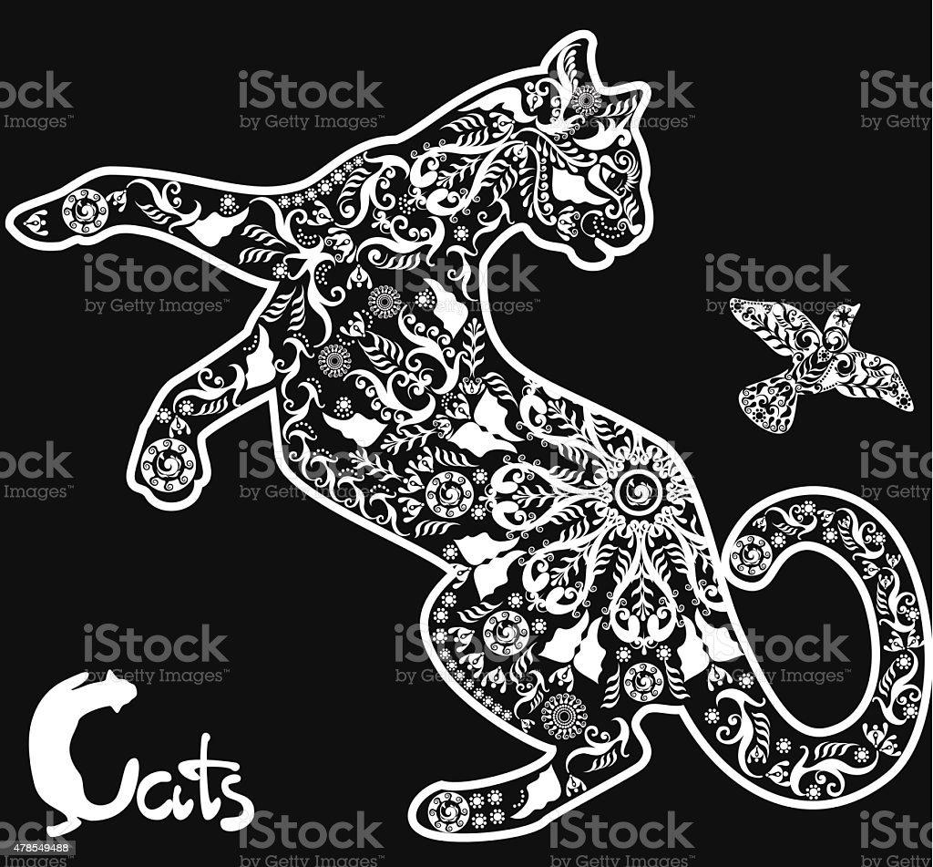 Stilizzato Disegno Di Gatto Su Sfondo Nero Immagini Vettoriali