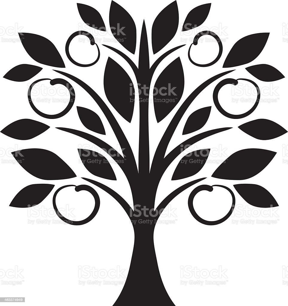 Stylized drawing of a fruit tree in silhouette vector art illustration
