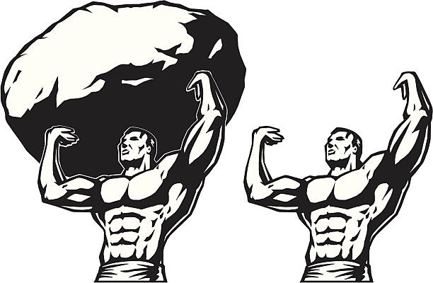 Stylized drawing of a strongman.  god stock illustrations