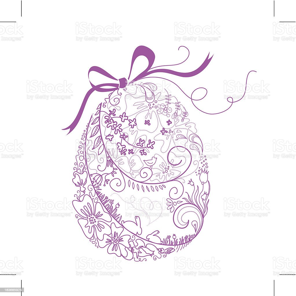 Stylized Easter Egg with Bow. royalty-free stock vector art