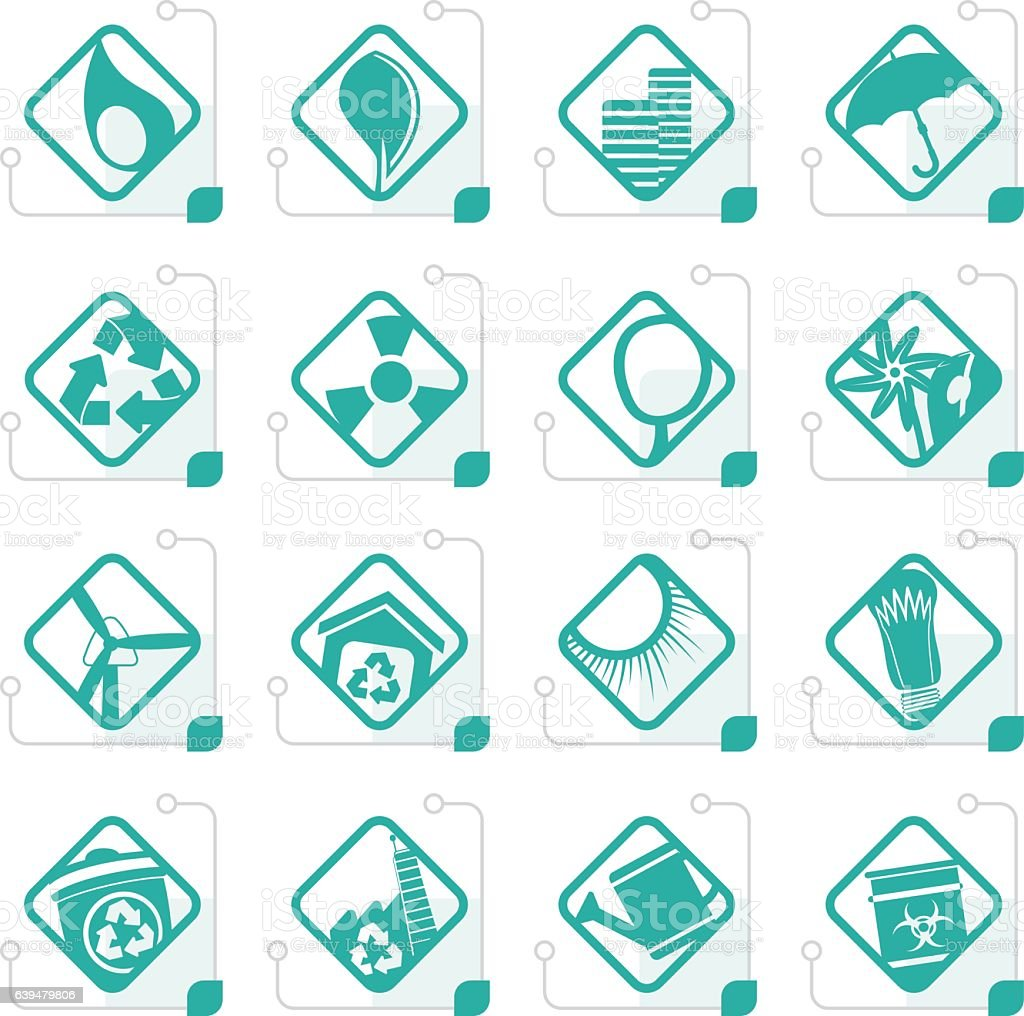 Stylized Ecology icons - Set for Web Applications vector art illustration