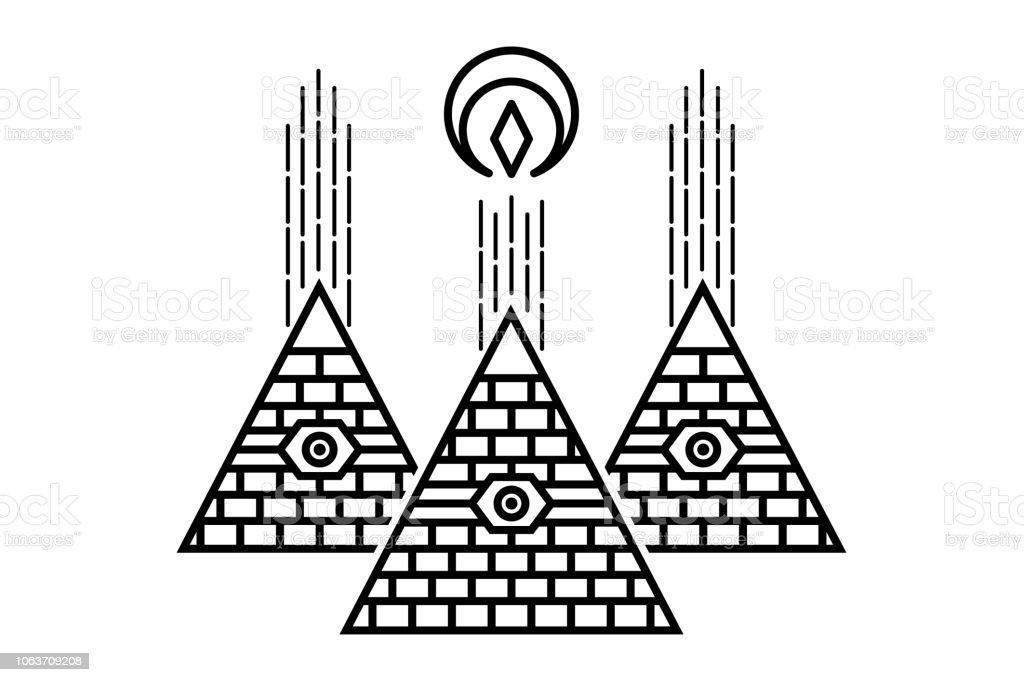 Pyramides Egyptiennes Stylisees Symbole Mystique Oeil De La