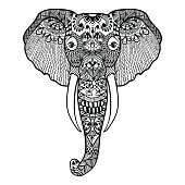 Stylized Elephant. Hand Drawn lace vector illustration isolated on white background. Sketch for tattoo or makhenda.