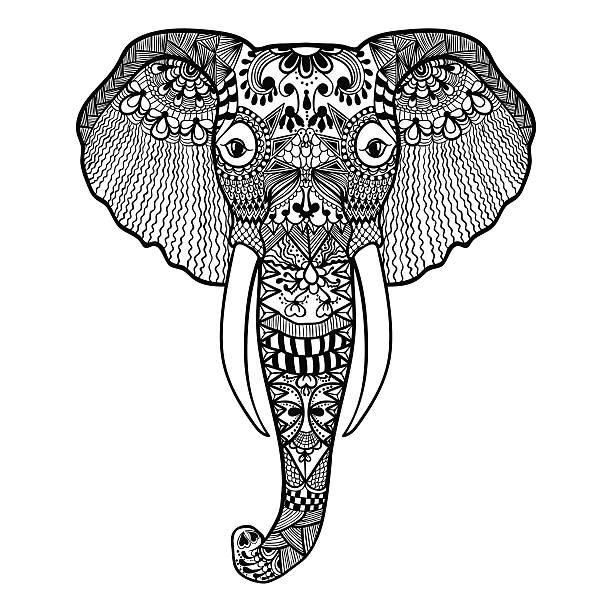 zentangle stilvolle elephant.   hand drawn spitze vektor-illustration - elefantenkunst stock-grafiken, -clipart, -cartoons und -symbole