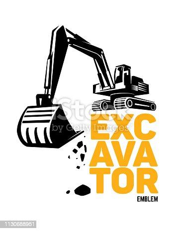 Stylized excavator. Vector illustration emblem
