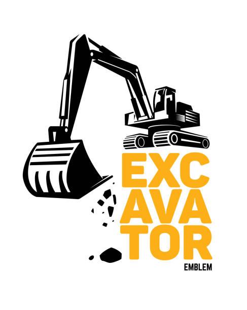 stockillustraties, clipart, cartoons en iconen met gestileerde graafmachine. vector - graven