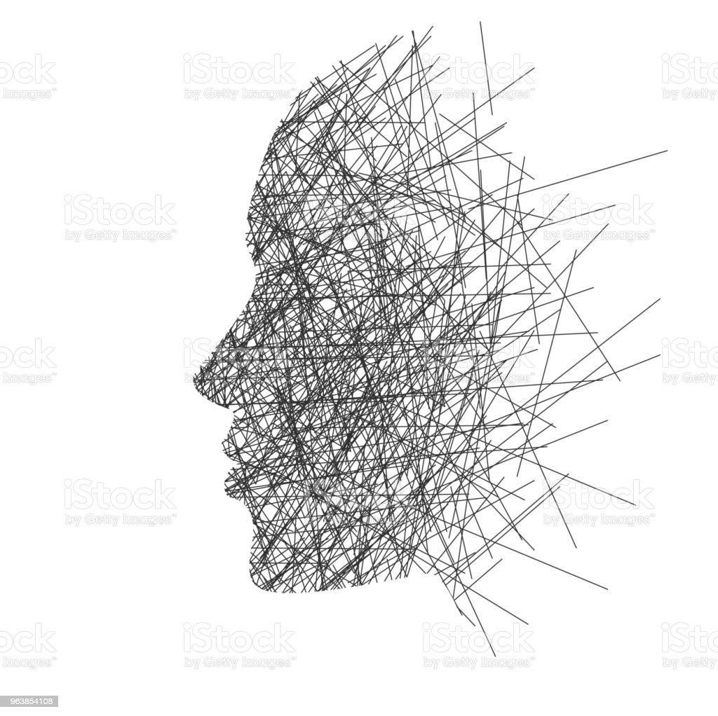 Stylized face in profile, concept: thoughts, stress or creativity - Royalty-free Adult stock vector