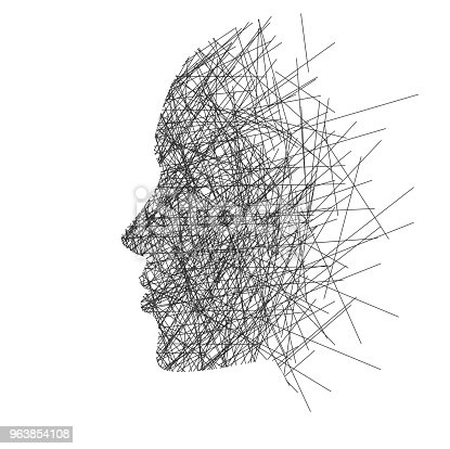 Stylized (black lines) isolated face of a human in profile on a white background, concept: thoughts, stress or creativity