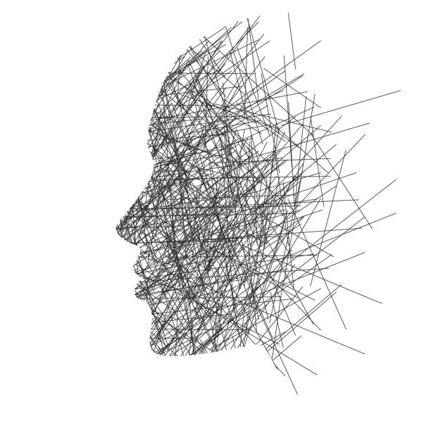 ilustrações, clipart, desenhos animados e ícones de estilizada de rosto em perfil, conceito: pensamentos, estresse ou criatividade - profissional de saúde mental